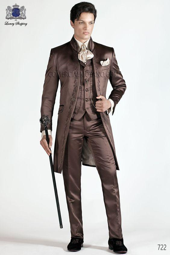 New Fashion Brown Embroidery Groom Tuxedos Stand Collar Men Suits 3 Pieces Wedding Prom Blazer (Jacket Pants Vest )W495