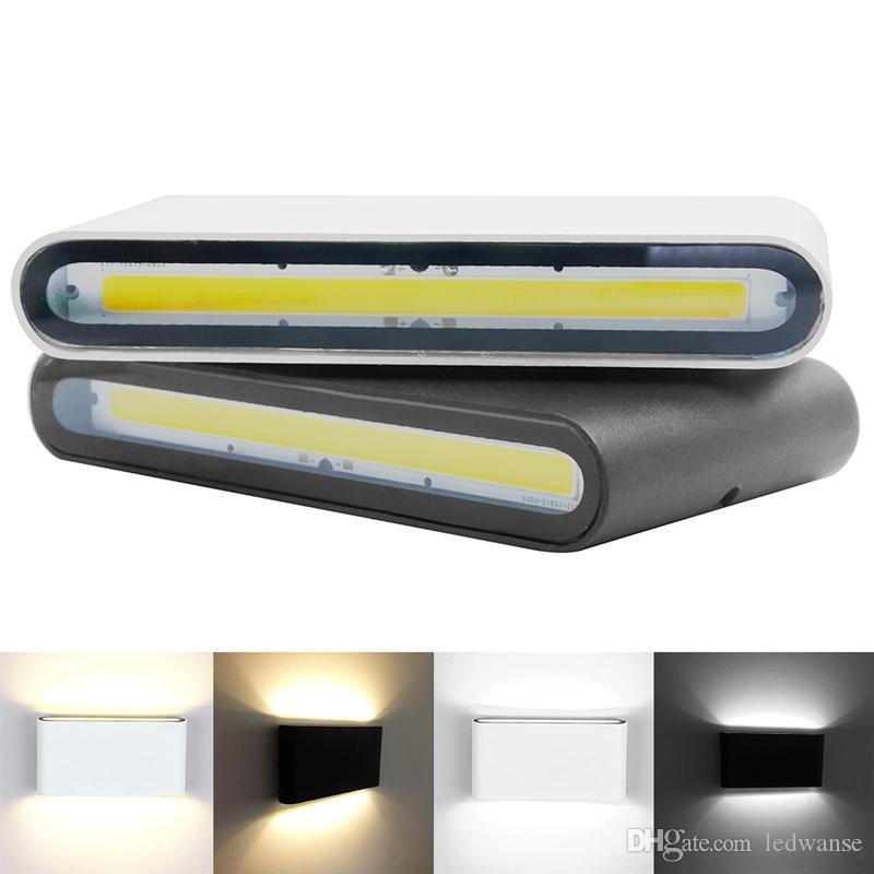 Lampe murale IP65 en plein air imperméable 6W 12W COB LED LED LED lumière moderne décor extérieur intérieur en haut de la tête double tête en aluminium lampe murale