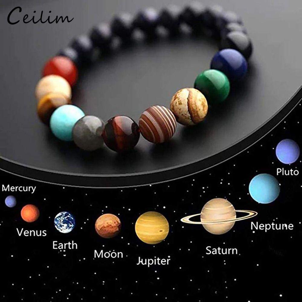 Galaxy Oito planetas bracelete frisado Homens Sistema Solar Universo Natural Pedra Yoga Chakra pulseiras para homens mulheres pendant 2019