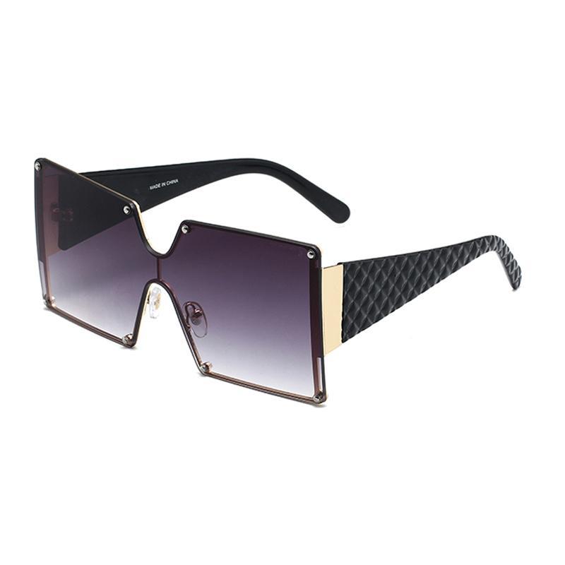 Oversized Rimless Sunglasses Women Fashion High Quality New Designer Female Gradient Sun Glasses Big Frame Square Sun Glass Vintage Eyewear