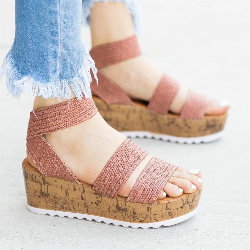 2020 Schuh-Frauen-Mode-Sommer-Frauen Sandalen weibliche Strand-Schuh Keil-Absatz-Plattform-Sandelholz-Komfortabler Plus Size 43