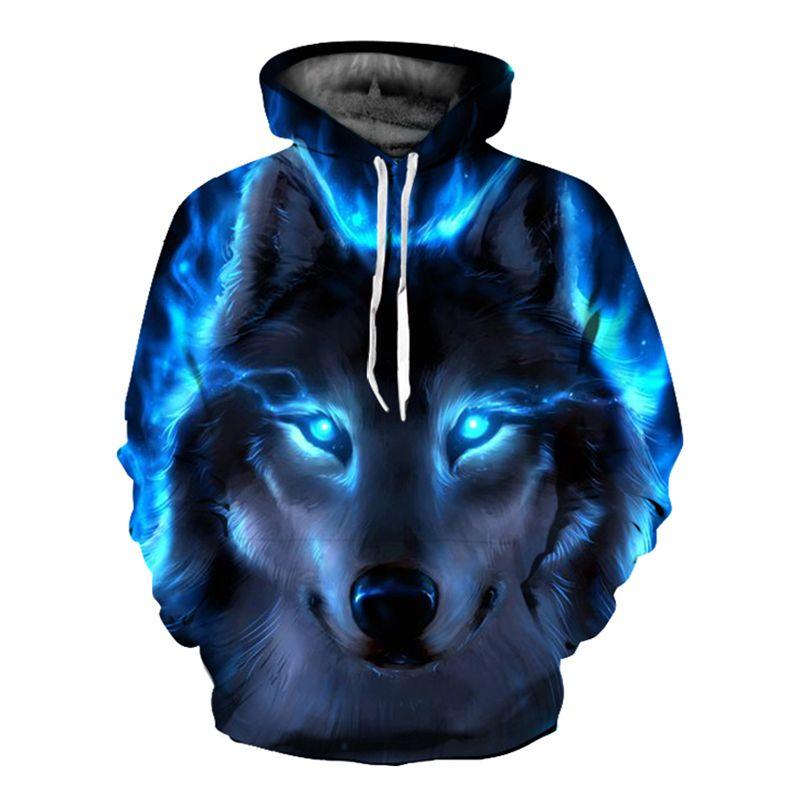 wholesale 2018 Funny Wolf Hoodies Men 3D Sweatshirt Harajuku Hoody Anime Tracksuit 3D Print Coat Casual Jacket Hooded Pullover