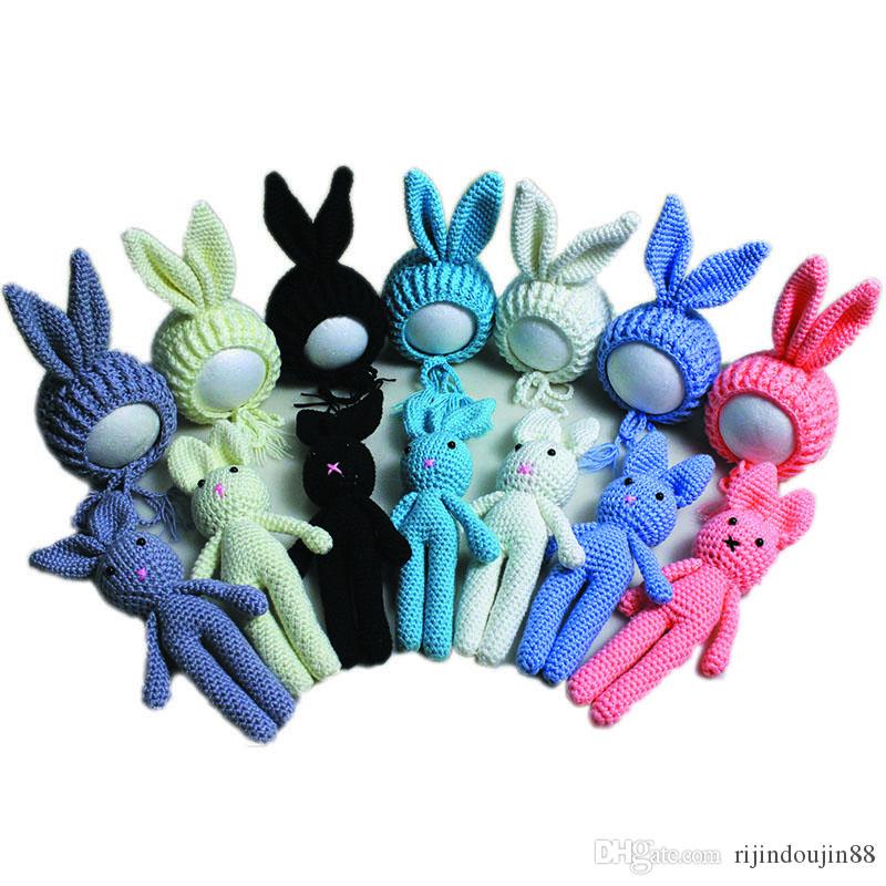 Carino coniglietto cappello bambino fotografia puntelli neonato tiro costume bambino beanie con bambola neonato foto neonato foto puntelli accessori