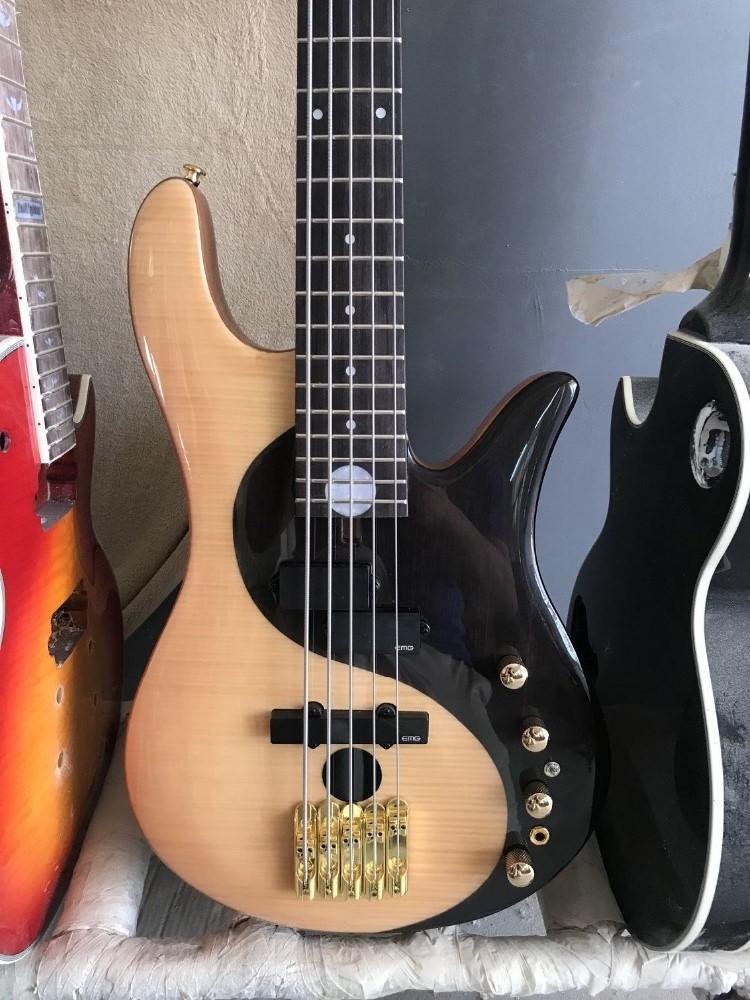 Özel toptan foderaa aktif 5-string basskin donanım bas gitar yin ve yang bas, özelleştirilmiş hizmetler sunmak