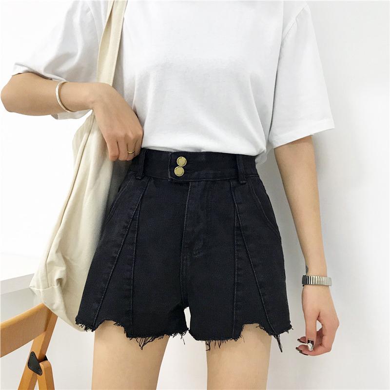 2019 neue sommer denim shorts baumwolle frauen vintage gelockt denim loch shorts lose nähte mode hohe taille # 8022