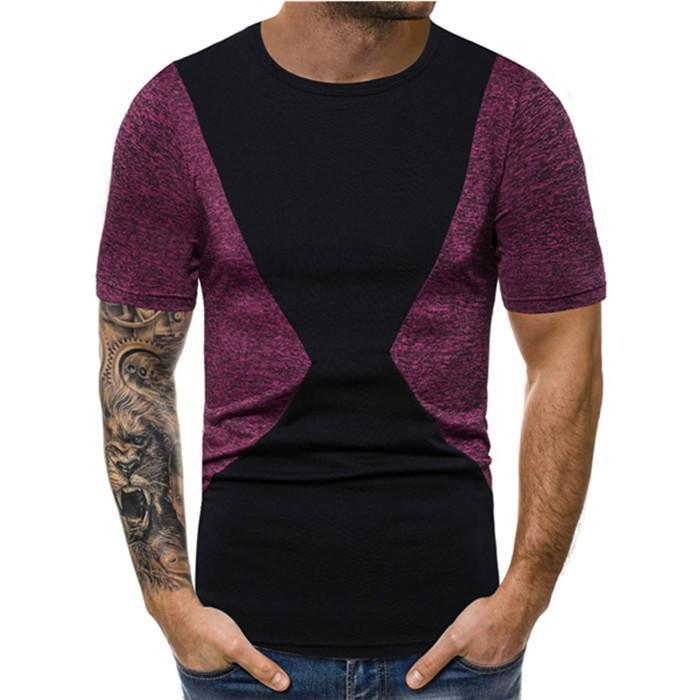 Mens Designer maglietta casuale respirabile di estate Mens cotone delle parti superiori Mens Abbigliamento Paneled girocollo