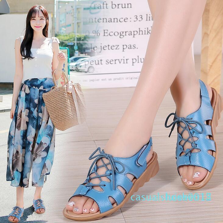 femmes en cuir véritable sandales chaussures femme sandales compensées à lacets chaussures dames étudiants slingback été plage FLIPFLOPS L15