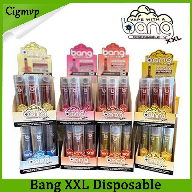 Bang XXL 일회용 vapes 펜 장치 800mAh Batterys 12 색 6ml 포드 빈 증기 2000+ 퍼프 키트 PK 에어 바 칼리