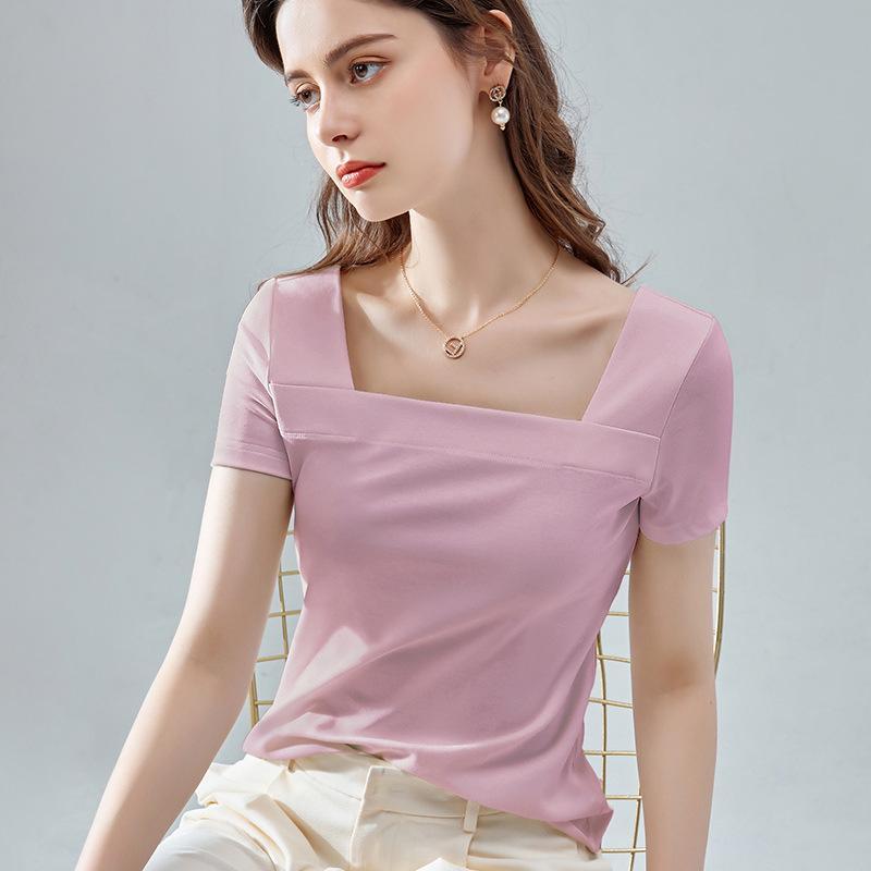 2020 женщин с короткими рукавами футболки моды лета новый сплошной цвет дикий квадратный воротник половина рукавами плотно сверху футболку Размер S-3XL-