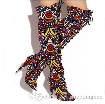 Sexy Mixed Color Printed Leather Lace-up Tight High Boots Open Toe Bandage Over The Knee Boots Women Rome Style Dress Shoes