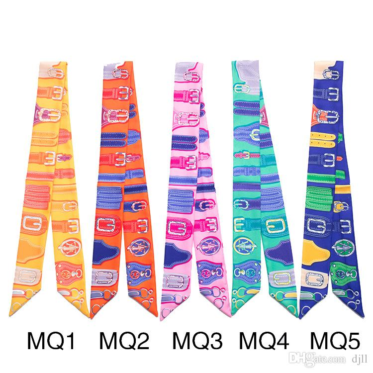 Narrow Long Scarf Belt Design Ribbon Woman Bag Handle Ribbon Hairband Shawl Scarf Headscarf Tied Hat Scarves Wristband Bracelet Wholesale
