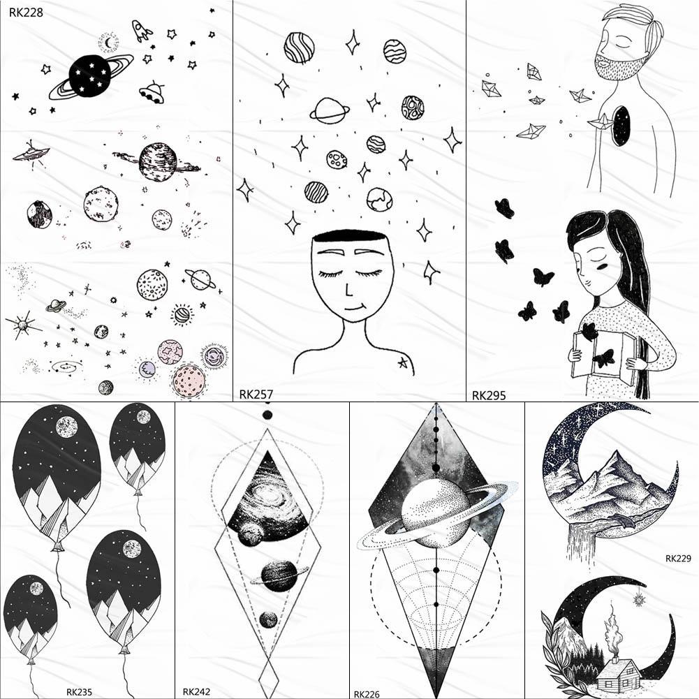 Ommgo Universe Planets Cute Temporary Tattoos For Kids Black Sticker Body Art Arm Star Fake Tattoo Star Custom Tatoos For Child Temporary Tattoos For Men Temporary Tattoos Metallic From Ruhui 24 47 Dhgate Com