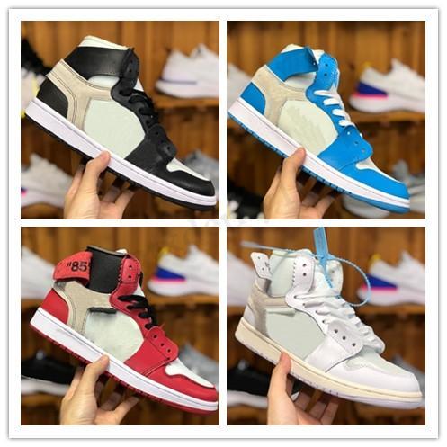 Nike Air Jordan 1 OFF White AJ1 OW Erkekler 1 basketbol ayakkabıları sneakers kapalı UNC Chicago yüksek Sky Blue 2020 yeni Jumpman 1 S kadın X Og Zapatos tasarımcı eğitmenler SK03