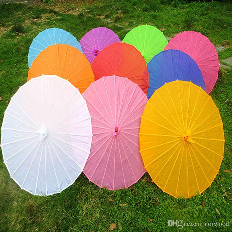 Chinese Colored Fabric Umbrella White Pink Parasols China Traditional Dance Color Parasol Japanese Silk Props 100pcs