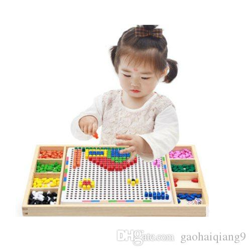 montessori educational wooden toys for children girls boys kids 3-5-6-8 years old Mushroom nail combination spell board toy