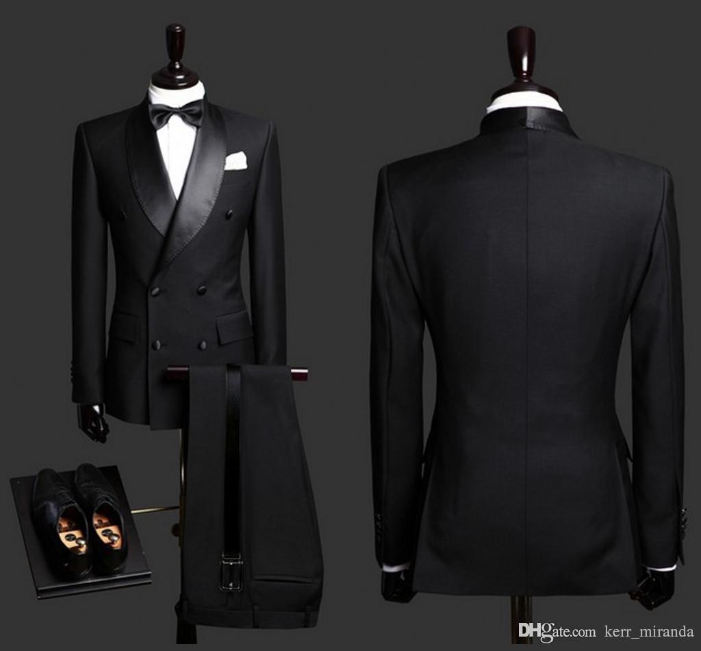2020 بذلات رجالي الأسود العريس البدلات الرسمية شال طية صدر السترة صالح سليم العريس ملابس رسمية أفضل رجل دعوى للحصول على حفلات الزفاف (سترة + سروال)