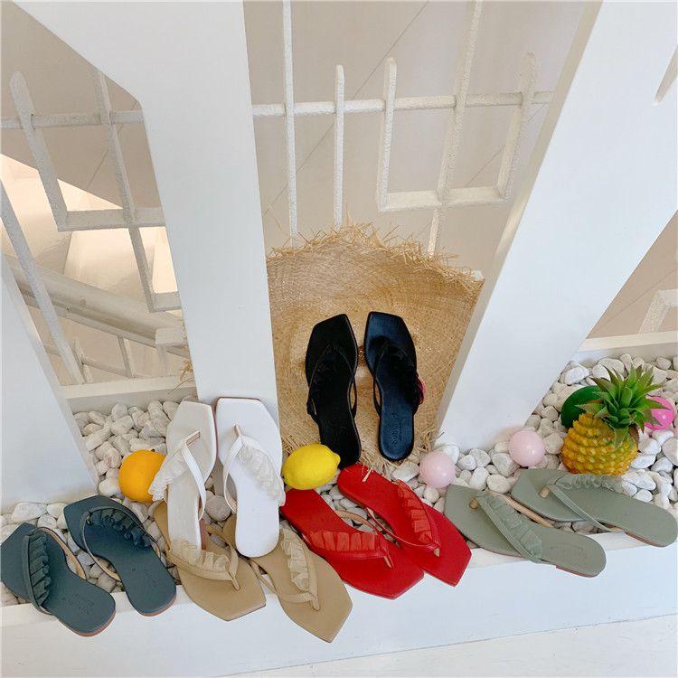 Pretty2019 Slipper Vacances Sur La Plage Chaussures Sandales Été À L'extérieur Des Vêtements Fond Plat Flip Flops Carré Femme