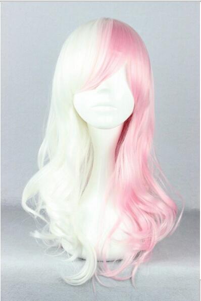 무료 배송 + + + 새로운 화이트 혼합 핑크 긴 곱슬 합성 머리의 코스프레 가발