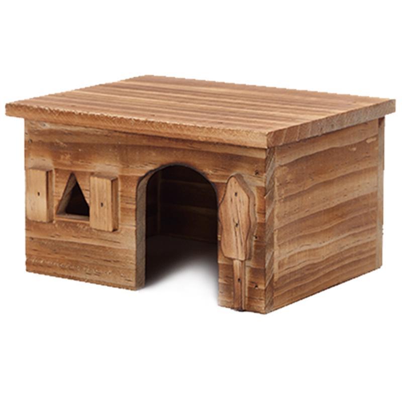 Promoção! Natural Wood Retângulo pequeno Animal Pet Hamster House Bed verão esfria Guinea Pig Hedgehog Chinchilla Casa gaiola Nest