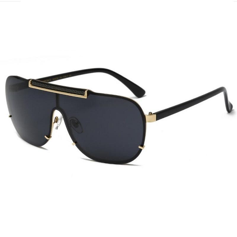 VE2140 Lüks büyük boy metal kare kare erkek marka tasarımcısı Altın malzeme karşıtı UV400 mercek gözlük kaplı gözlük güneş gözlüğü