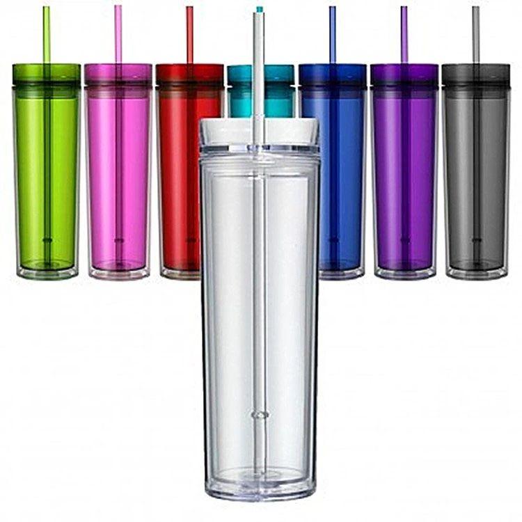 16 Unzen dünner Acryl Tumbler mit Deckel und Stroh 480ml Double Wall durchsichtigen Kunststoff Cup BPA frei 16 Unzen Becher gerade Wasserflasche Acryl Reise