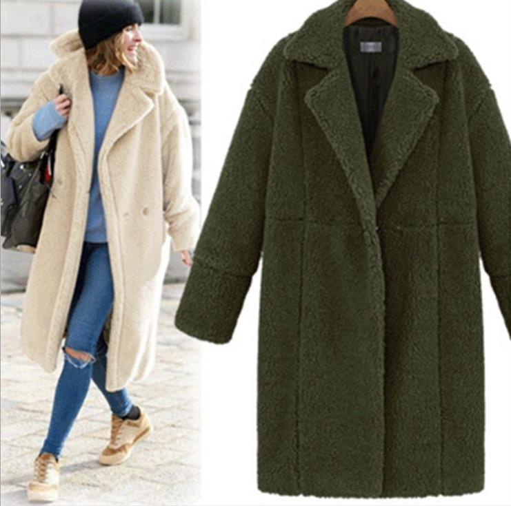 Giacca calda moda donna Autunno e inverno Nuovo arrivo Cappotto lungo in lana a maniche lunghe con maniche lunghe in cashmere