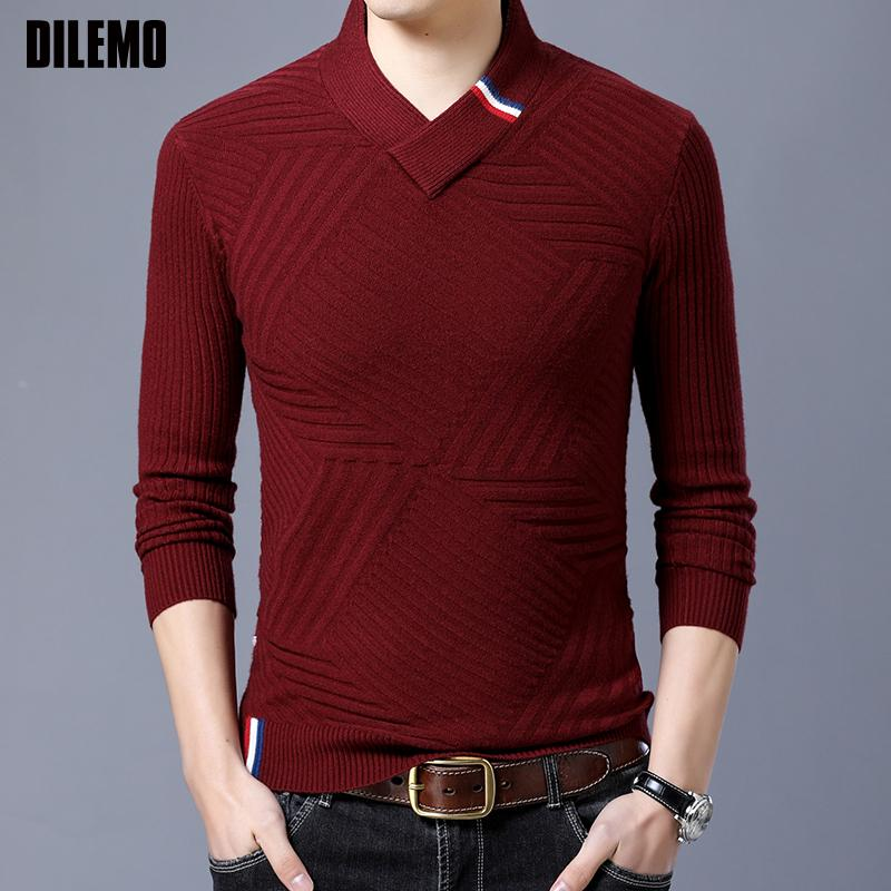 2019 новая мода свитера Мужские пуловеры Slim Fit V шеи перемычки трикотаж жаккард зима корейский стиль повседневная мужская одежда