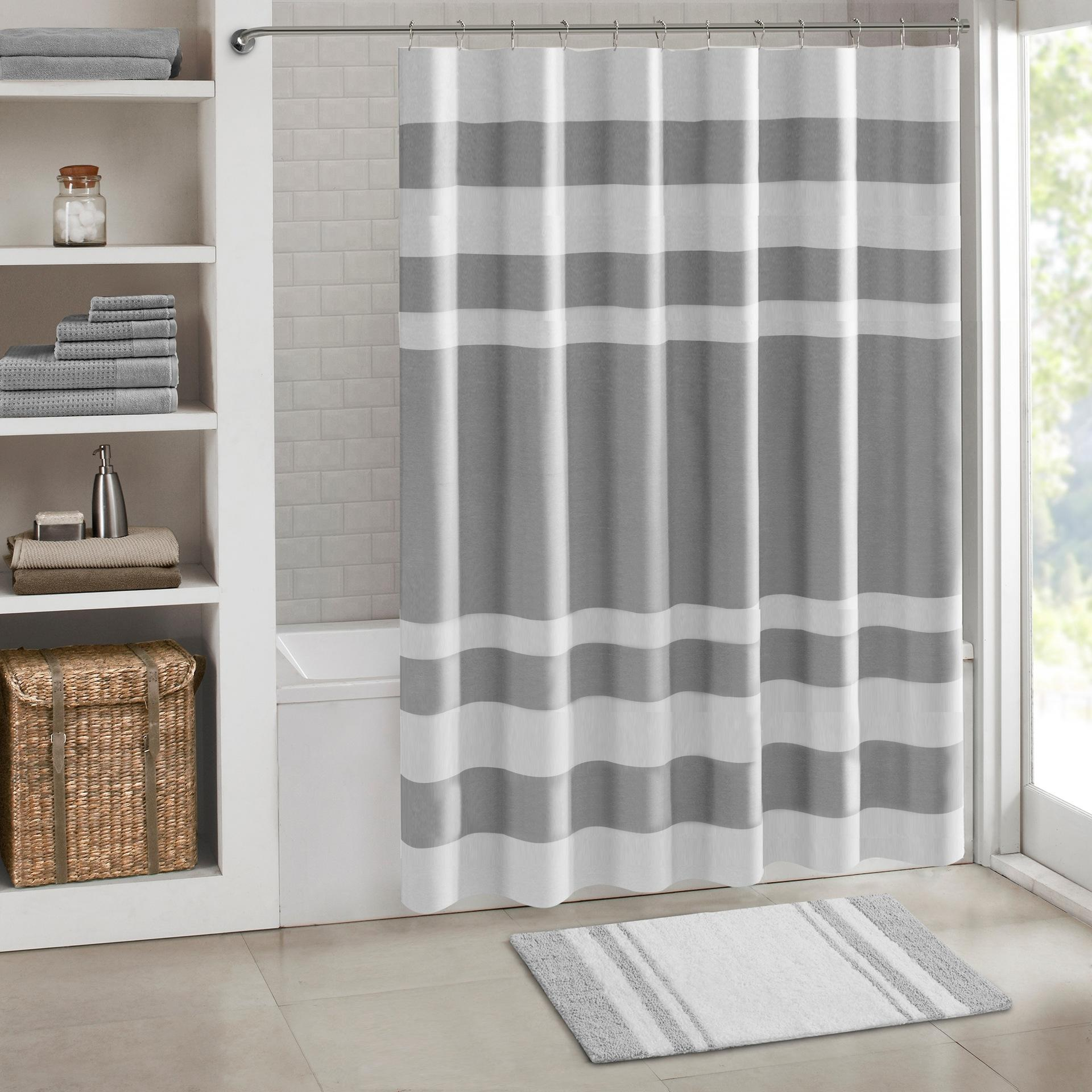 Simple Strip Pattern Bath Curtains Waterproof Polyester Fabric Washable Bathroom Shower Curtain Screen With Hooks Accessories