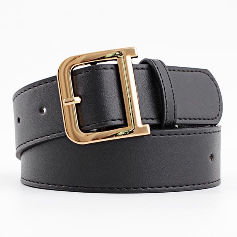 femme ceinture ceinture ceintures en cuir noir pour les femmes d'or millésime boucle D cinturon mujer tous les jeans match ceinture 2020