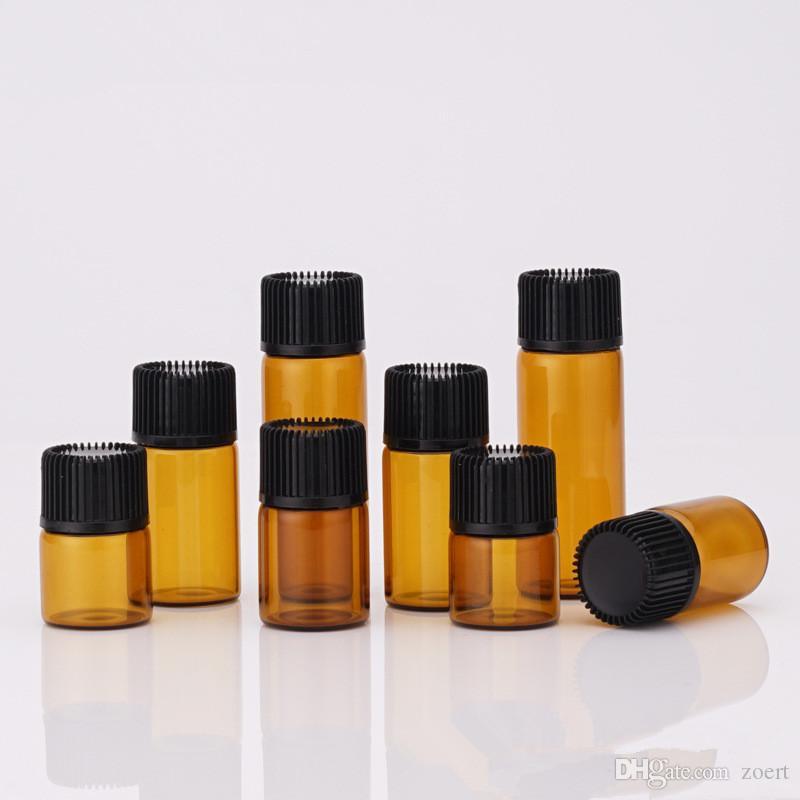 1 ml 2 ml 3ml 5ml Dram de vidro âmbar garrafas de óleo essencial fina de vidro pequeno Brown Perfume Oil Garrafas Garrafa Teste Amostra
