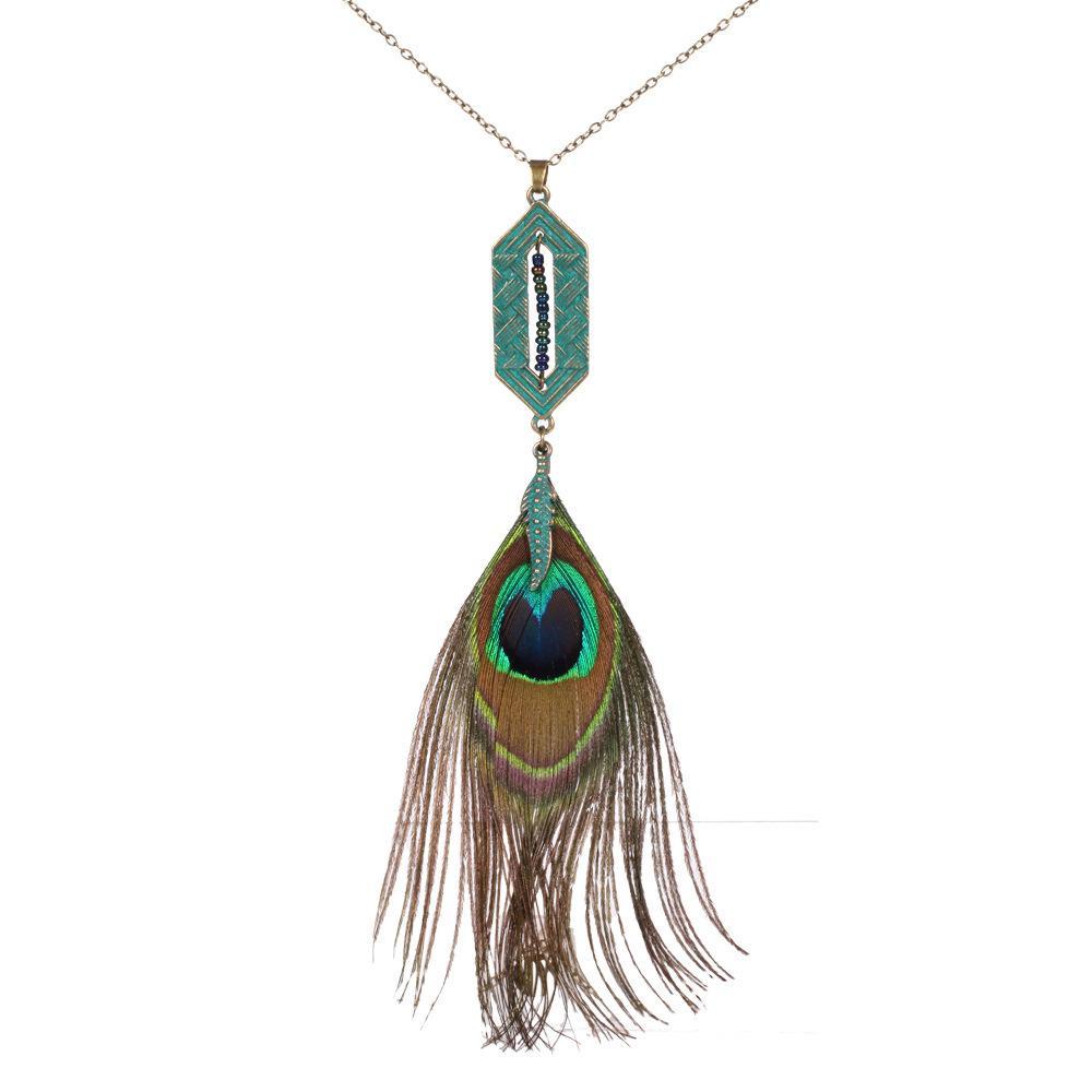 S923 حار الأزياء والمجوهرات ريشة الطاووس خمر قلادة الريشة ليف قلادة قلادة