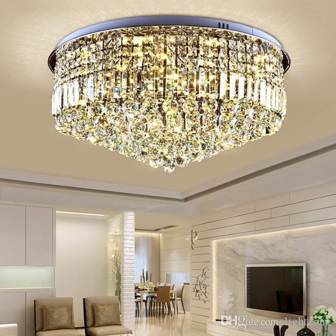 Новый дизайн современная роскошь круглый D 80 см x H 38 см хрустальные хромированные люстры светодиодные потолочные светильники скрытого монтажа для гостиной спальни