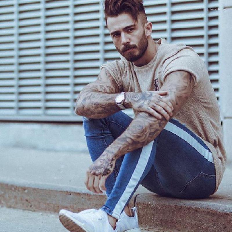 Kot Çizgili dökümlü Delik Ripped Slim Fit Kalem Pantolon Pantalones Erkek Tasarımcı Biker