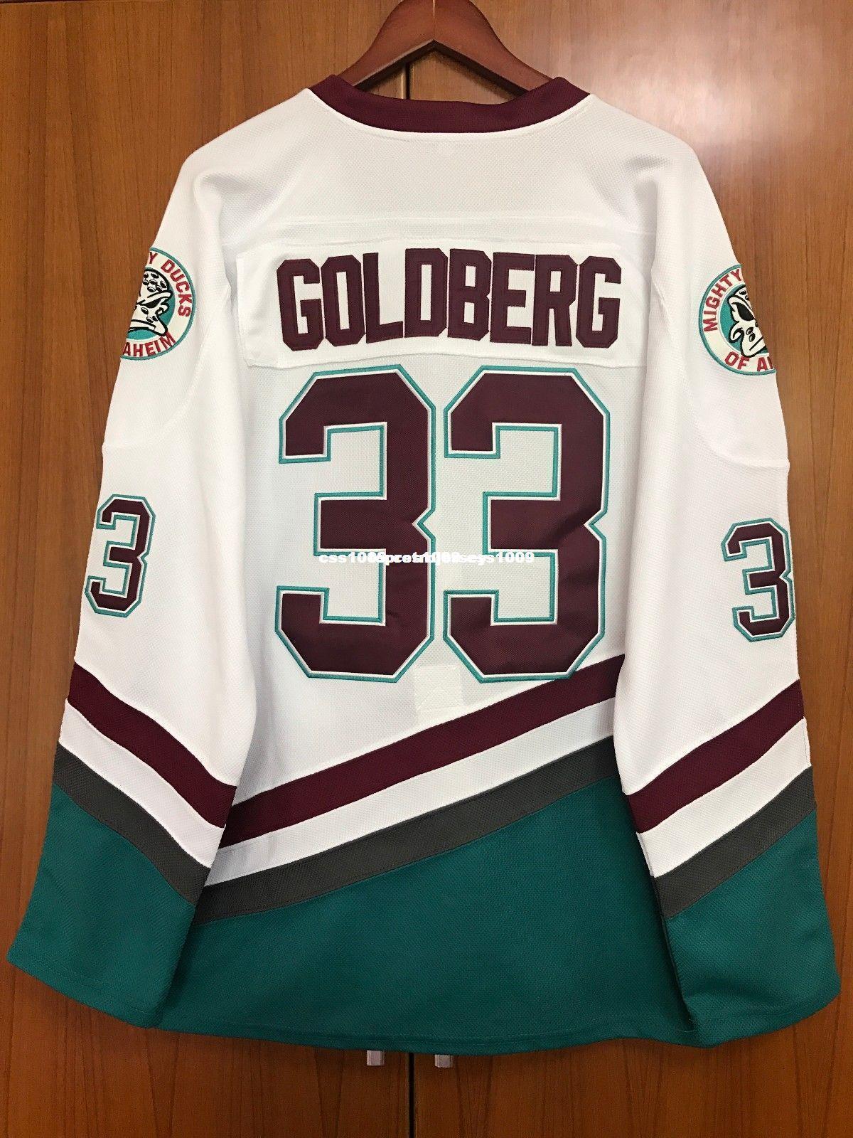 Barato personalizado # 33 Greg Goldberg Camiseta de hockey The Mighty Ducks Película camiseta Cosido en blanco Personalizar cualquier nombre de nombre HOMBRE MUJER JOVEN XS-6XL