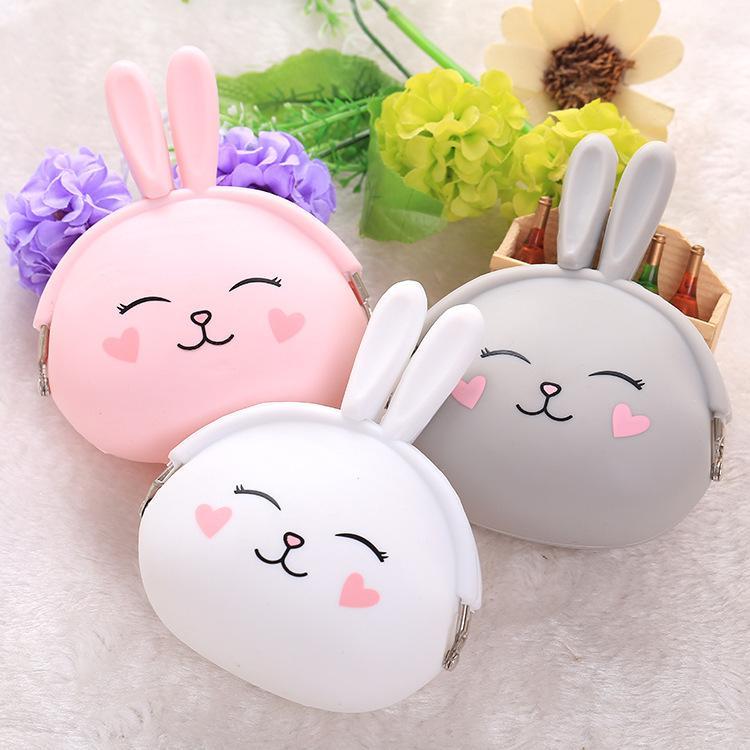 Cartoon Beautiful Enfants Silicone Bunny Forme Purse Soft Candy Couleur Couleur Porte-clés Livraison Gratuite M130
