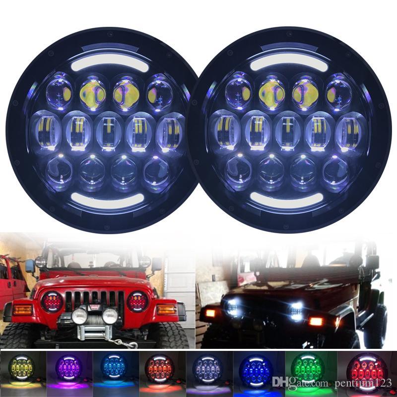 2 adet 7 inç105 W led far RGB Yüksek / Düşük Işın Far Jeep Wrangler için beyaz Melek Göz