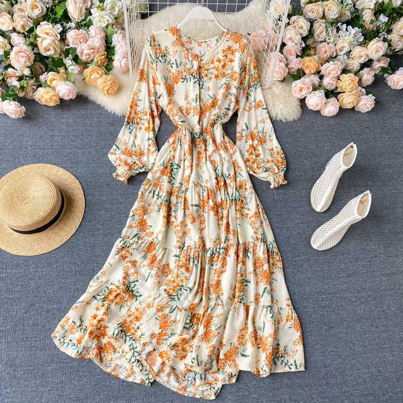 Vestido de vacaciones junto al mar 2020 mujeres nueva moda Chic Super Primavera Verano Hipster Floral Vestidos de manga larga L587