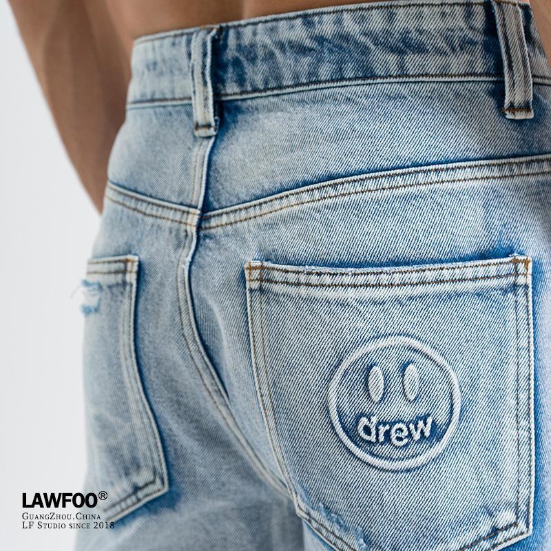 LawFoo nouveau logo populaire printemps et l'été 2020 bieber mâle avec le visage souriant font vieux jeans pantalons décontractés pour hommes