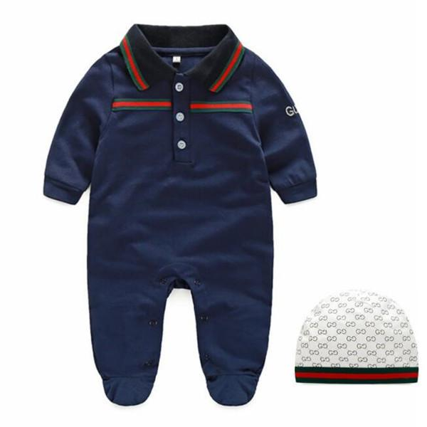 0-12 شهرا ملابس الاطفال حديثي الولادة طويلة الأكمام السروال القصير طفل مصمم الرضع الملابس القطنية طفل الفتيان الفتيات حللا + قبعة ملابس مجموعة