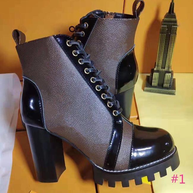 2019 Ladies Designer 100% cuir de vache classique Luxe Court Bottes Chaussures en cuir à talons hauts bottes mode taille bottes Martin boîte 35-42With