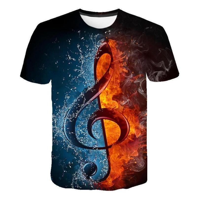 2019 New Flame T-shirt Da Uomo Musica t-shirt 3d Chitarra Magliette Casual Camicia di Metallo Stampa Gothic anime Vestiti Manica Corta t camicette