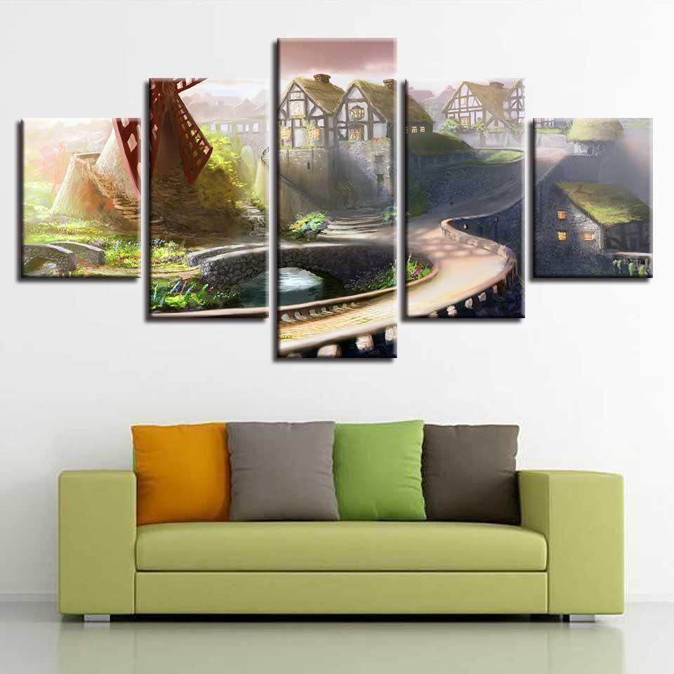 HD baskı odası duvar dekorasyonu çerçeve yaratmak sanat 5 adet Moqiao modüler yolu aile manzara tuval resim afiş boyama