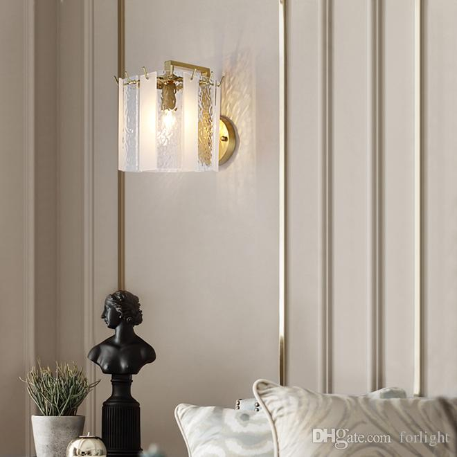 Contemporary copper sconce wall lights crystal led wall lamp nordic gold wall sconce lighting for TV background bedroom bedside corridor