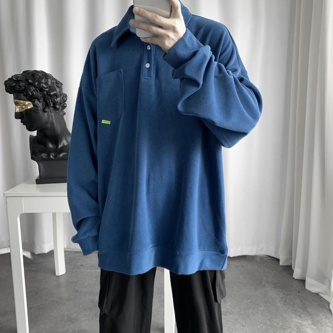 Sudaderas con capucha para hombre Sudaderas 2021 Cuello de solapa Ropa Abrigos Pure Color en bolsillo de algodón caliente Pollover Casual Alta calidad Weatshirts M-XL