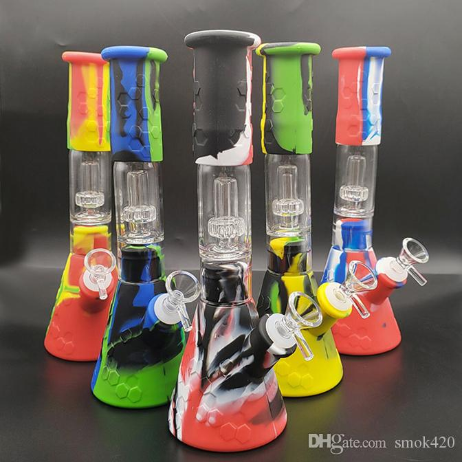 Силиконовые бонги перколатор перхлорэтилен съемные водопроводные трубы 11,42 дюйм прямо с конструкцией стеклянной чаши стакана ломко кальяна фильтр DAR вышкой