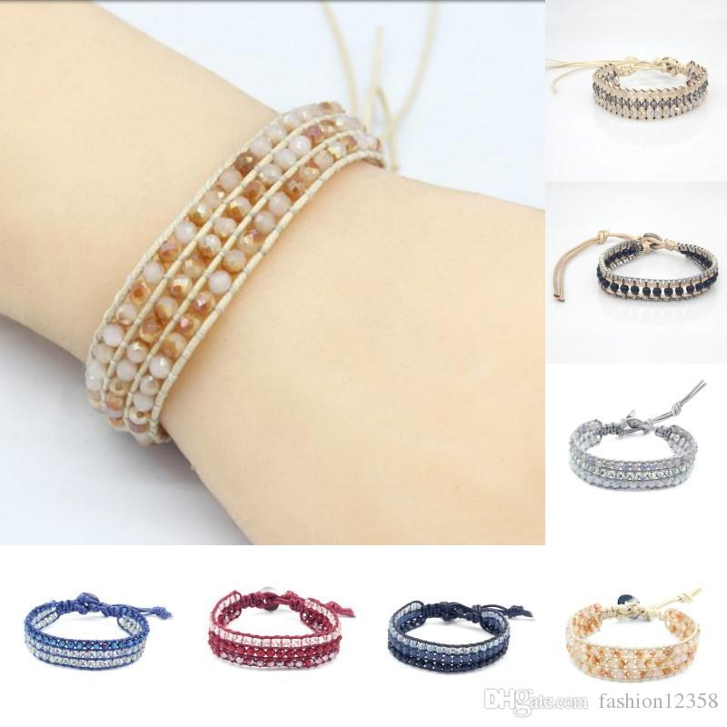 Boho pulseiras para as mulheres DIY pulseira artesanal de cristal pulseira de miçangas cordas charme jóias presente dos amigos