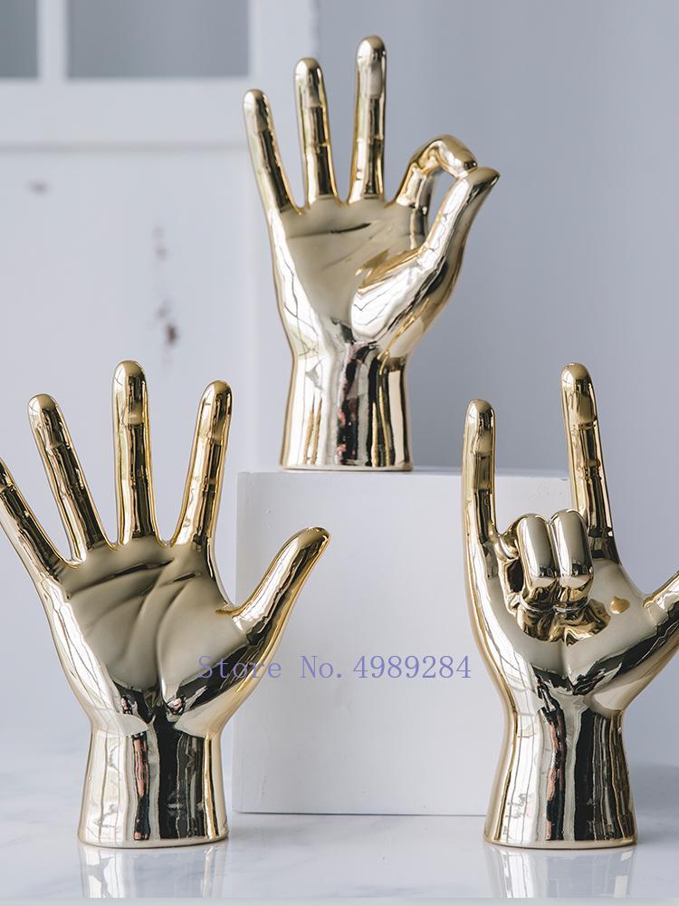 Nórdicos cerámica creativa del dedo Difícil adornos decorativos modernos accesorios decorativos del hogar decoración de escritorio CJ191223