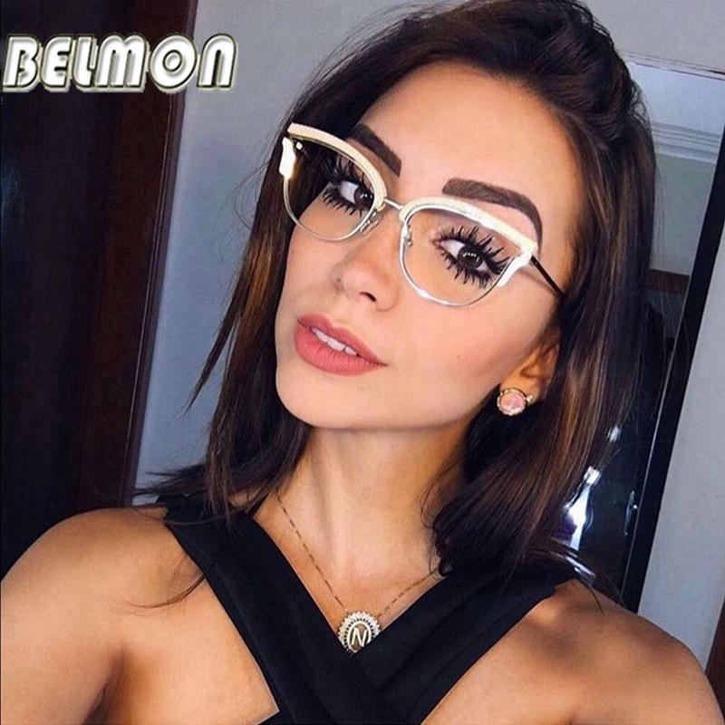 Belmon Optical Lunettes de vue Femmes Mode Prescription Spectacles Lunettes de diamant Cadres Transparents Clear Lens Eyewear Rs824