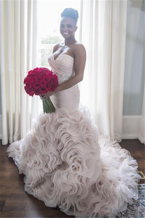 Taille des robes chérie Ruffles train de sirène Robes de mariée Sash perles Plis Fermeture à glissière robe de mariée en organza robe de mariée