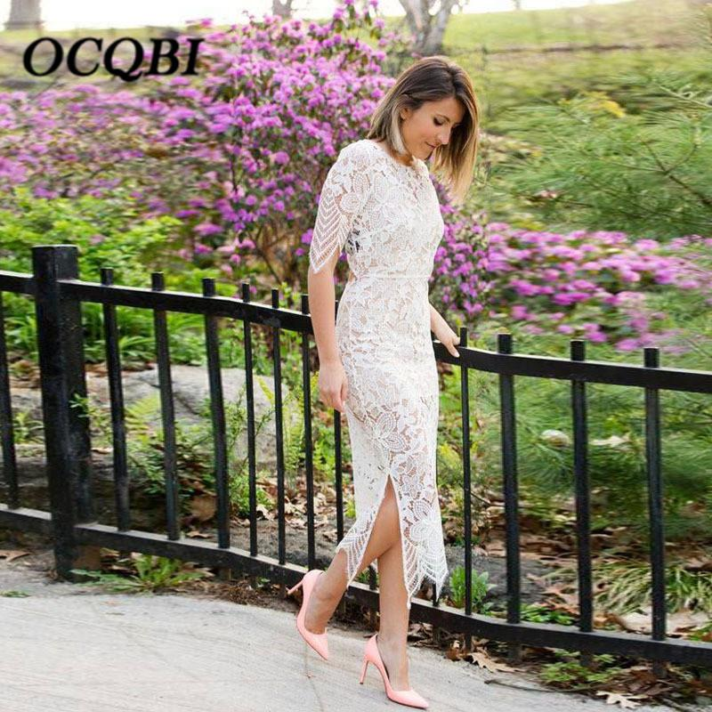 das mulheres elegante Bodycon Party Club Dreeses Branco oco Out Lace Sexy Moda Drees